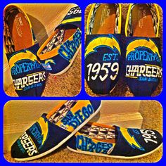 Hand painted TOMS San Diego Chargers by HandPaintedDesigns27, $105.00