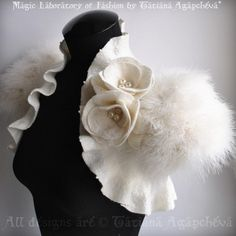 Bolero Wedding Shrug Jacket Marabou Bridal Felted Cap by TianaCHE, $260.00