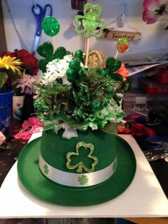Tea Green Paper Hat Decorated With Sparkling Items St Patrick's Day Decorations, Green Paper, St Patricks Day