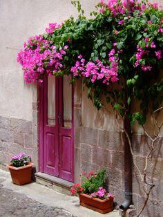 travel-lusting: Castelsardo Italy (by Wendy Armstrong) Castelsardo Sardegna Porch Windows, Windows And Doors, Entrance Gates, Grand Entrance, Beautiful Flowers, Beautiful Places, Door Entryway, Door Gate, Garden Doors