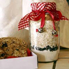 Cookie Mix in a Jar, have a make you own cookie in a jar station where the items and recipes are prepped but the kids fill the jar and pick out the ribbon or cover for it.