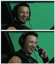 Jeremy Renner goofing around. Lol I forgot about behind the scene stuff- MUST go and put in the DVD right now and watch!!