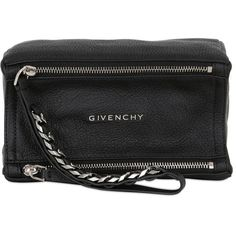 Givenchy Women Pandora Waxed Leather Wristlet Clutch (2.255 BRL) ❤ liked on Polyvore featuring bags, handbags, clutches, black, leather wristlet, givenchy purse, leather clutches, wristlet purse and zip wristlet