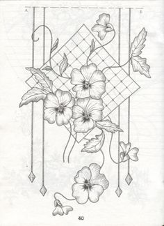 Embroidery Pattern ~ Design Great for Lattice Work and Couching from partons pergamano. Border Embroidery Designs, Hand Embroidery Patterns, Embroidery Stitches, Flower Coloring Pages, Colouring Pages, Coloring Books, Parchment Design, Parchment Cards, Craft Patterns