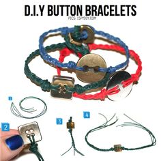 DIY button bracelets-- As someone who has a HUGE collection of vintage buttons and never throws away a spare button that comes with a new garment, I was sooo excited to run across this page!! Can't wait to make!