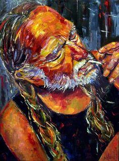 Willie Nelson painting art music portrait by Debra Hurd, painting by artist Debra Hurd