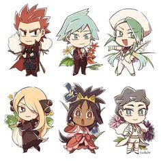 Lance, Steven Stone, Wallace, Cynthia, Iris and Diantha! Pokemon Mew, Lance Pokemon, Pokemon Funny, Pokemon Fan Art, Pikachu, Wallace Pokemon, Pokemon Champions, Pokemon People, Pokemon Special