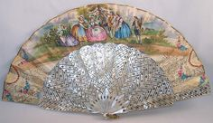 Pierced Fan: ca. 1850's, hand-painted mother-of-pearl, it is made of pleated paper with foil trim edging along the top and Rococo design accents and hand-coloured painted picture, brass loop.