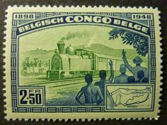 Stamp: Railroad Map and Train (Belgian Congo) anniv. of railway service in the Congo) Mi:BE-CD 296 Congo Free State, Belgian Congo, Old Stamps, Stamp Collecting, My Stamp, Postage Stamps, Art Forms, Vintage World Maps, Old Things