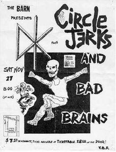 Circle Jerks, Dead Kennedys, Bad Brains punk hardcore flyer