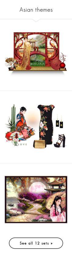 """Asian themes"" by leaff88 ❤ liked on Polyvore featuring art, Aquazzura, Nina Ricci, asian geisha women culture, interior, interiors, interior design, home, home decor and interior decorating"