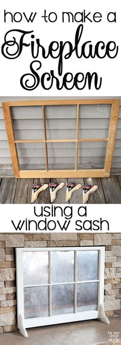 Step-by-step photo tutorial showing how to make a fireplace screen using a window sash | In My Own Style