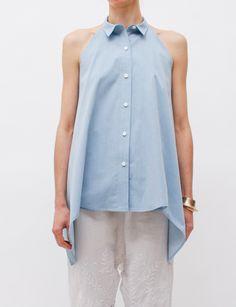 United Bamboo Sleeveless Shirt Chambray, $394