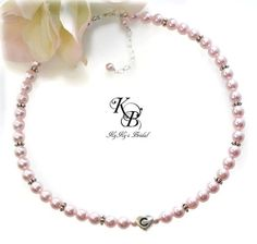 Adorable Puffed Heart Sterling Silver and Swarovski Pearl Personalized Flower Girl Necklace, Choice of 40 Pearl Colors!  Pearl Flower Girl Necklace, Choice of Color, Personalized FlowerGirl Necklace, Flower Girl Gift, Little Girl Jewelry, Flower Girl Jewelry   KyKy's Bridal, Handmade Bridal Jewelry, Wedding Jewelry #wedding #bride #flowergirl #flowergirlgift #heart #love #cute #adorable #shopkykysbridal