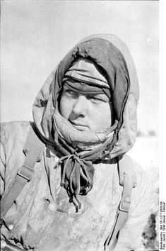 German grenadier in winter smock somewhere in the USSR in January 1944. This type of clothing was unavailable to the army during the opening phases of Barbarossa and, hence, the attack suffered keenly from the Russian winter onslaught. German industry struggled throughout the war to provide better winter kit with only mixed results.