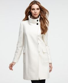 Clean and sophisticated, this elegantly-crafted wool coat sports a modern, streamlined silhouette for the look of the season. - Ann Taylor