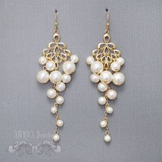 Bridal Chandelier Earrings Pearl Wedding Earrings by adriajewelry