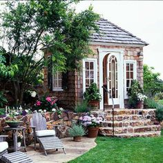 Prettiest garden shed. Also beautiful little patio & chairs to enjoy the garden shed. Summer House Garden, Garden Cottage, Dream Garden, Home And Garden, Backyard Cottage, Garden Lodge, Brick Cottage, Summer Houses, White Cottage