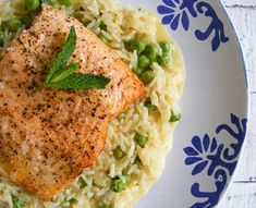 Baked trout with minted pea risotto