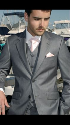 Groomsmen tuxedos blush pink and grey