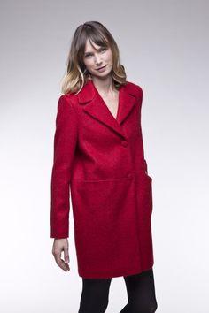 adoptez le manteau en tissu poilu rouge cet hiver pour un - Manteau Femme Color