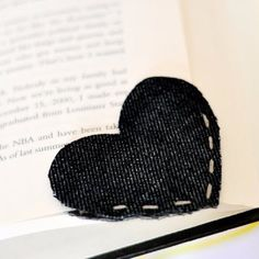 DIY Crafts with Old Denim Jeans -Old Denim Corner Heart Bookmark- Cool Projects and Fashion You Can Make With Old Jeans - Fun Crafts for Teens and Adults, Inexpensive Ones!