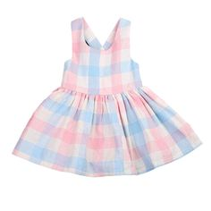 Summer Hot Colorful Plaid Baby Girl Dress Sleevelss Toddler Kids Girls Lace Flower Belt Dress Summer Sundress Party Dresses 1-5Y #Affiliate