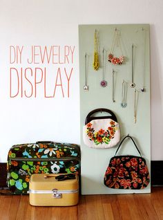 """As a chronic renter I'm always reinventing ways to display my favorite things. This jewelry display idea is an easy way to show off your baubles and pretties without adding a million holes to your walls or tangling all of your chains in the process. One trip to the hardware store and you're in business. Step 1: You'll need 1 panel of pine measuring 3/4"""" x 20"""" x 48"""", a..."""