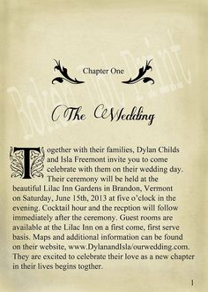 wedding invite chapter  | ... is quite boring...and i wouldn't start with the wedding as chapter 1