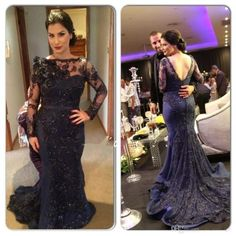 2016 New Long Sleeve Mermaid Evening Dresses Bateau Neck Navy Blue Lace Beaded Party Arabic Dubai Sheer Long Court Train Prom Gowns Bo8853 Online with $113.88/Piece on Hjklp88's Store