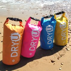 All Colours DRYU waterproof bags. 10 litre medium size. High performance. Water, sand, dirt and snow resistant. #waterproof #boats #camping #kayak #bag