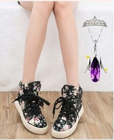 Floral Shoes Soled Platform Shoes High Shoes Casual Canvas Shoes on Luulla