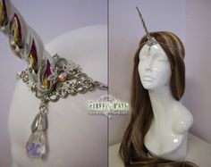 """Silver Unicorn Horn Circlet by FireflyPath on Etsy, I could be Princess Unicorn :-) """"My horn can pierce the sky! Halloween Cosplay, Halloween 2018, Halloween Makeup, Halloween Ideas, Halloween Costumes, Unicorns And Mermaids, Circlet, Medieval Fantasy, Costume Makeup"""