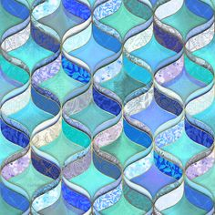 Patchwork Ribbon Ogee Pattern in Blues