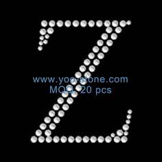 2.5 Inches Height Rhinestone Alphabet Z, Bling Alphabet Motif Rhinestones