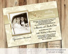 Golden 50 Anniversary photo invitation - 50th anniversary invitation - any year - Vintage look - Printable Invitation Design. $18.00, via Etsy.
