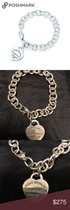 """Tiffany Heart Tag Charm Bracelet Authentic Tiffany """"Return to Tiffany"""" Heart Tag Charm Bracelet. Sterling Silver. Size small, 7"""" long. Pre-owned but only worn a couple of times. Light surface marks. Tiffany & Co. Jewelry Bracelets"""
