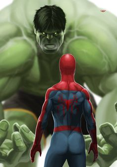 The Hulk v Spider-Man by Yvan Quinet (Marvel comics) - visit to grab an unforgettable cool 3D Super Hero T-Shirt!