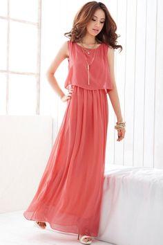 Elegant Sleeveless Maxi Dress With Chiffon Overlay $16.95, one size fits most
