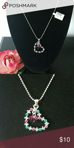 Cute heart fashion necklace Cute, blue, pink and diamond colored gem necklace. Brand new. Jewelry Necklaces