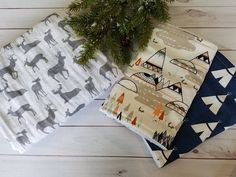 Swaddle Baby Blanket Burp Cloth Set Aztec Baby Gift Gender