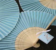 Blue Silk Wedding Fans | Hand Fans | Wedding Fans