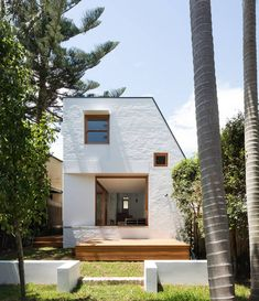 House Collins by was a weatherboard cottage in Sydneys inner west which has been extended with a lofty bagged-brick barn. Photo by Australian Interior Design, Interior Design Awards, Australian Architecture, Architecture Design, Bauhaus, Bungalows, House Front, Beautiful Homes, Ramen