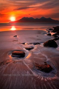 View from Laig Bay, Isle of Eigg, to the Cuillin of the Isle of Rum, North West Scotland.