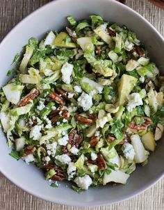 Pear, Pecan and Gorgonzola Brussels Sprout Slaw | Orchard Street Kitchen