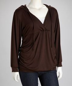 Take a look at this Brown Hooded Surplice Top - Plus on zulily today!
