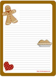 Cute Christmas stationary design with ginger bread man,heart and pie A design to depict love and affection. A cute ginger bread man , an adorable heart and a yummy pie to show the love , affection … Free Printable Christmas Cards, Printable Recipe Cards, Xmas Cards, Free Printable Stationery, Free Printables, Christmas Gingerbread, Christmas Crafts, Recipe Scrapbook, Christmas Stationery