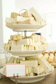 "A sweet afternoon wedding reception idea a tiered tray of ribbon sandwiches"" (via Gorgeous Wedding Things / 6a00e5505fecd388330133f23eaa34970b-pi (567×851))"