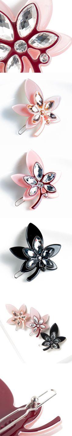 Chaplet 2017 New Spring French Elegant Maple Leaf Women Hair Accessories Barrettes Shine Rhinestones Hairpins Girl Hair Jewelry