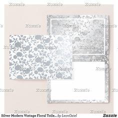 Shop Silver Modern Vintage Floral Toile Blank Inside Foil Card created by LeonOziel. Foil Card, Silver Paper, Paper Envelopes, Colored Paper, Silver Flowers, Vintage Floral, Thank You Cards, Create Your Own, Stationery